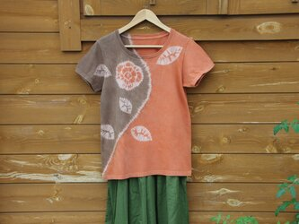 Sale 天然土顔料絞り染Tシャツ <バラ一輪>の画像