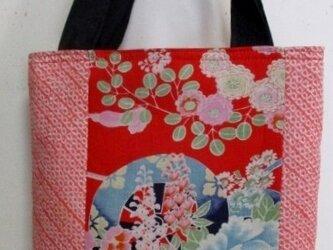 4812 花柄と絞りの着物で作った手提げ袋 #送料無料の画像