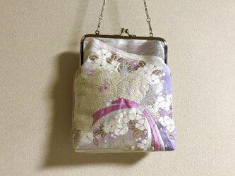 ★御朱印ケース がま口タイプ  ピンク×パープル桜の花束柄帯地 ★の画像