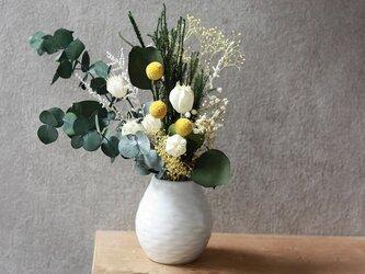 花瓶とブーケのgift set(黄色)の画像