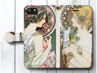 【アルフォンス ミュシャ 桜草 羽根】スマホケース手帳型 全機種対応 iPhone11 iPhoneXRの画像