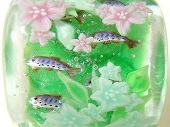 とんぼ玉帯留め 渓流のヤマメと谷卯木の画像