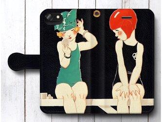 【フランス パリの広告ポスター お化粧】スマホケース手帳型 全機種対応 iPhone11 AQUOSの画像