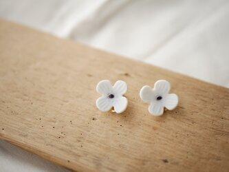 淡いみずいろ 磁土で作ったお花のイヤリングの画像