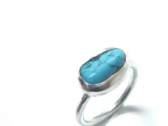 お買い得!【一点物】天然トルコ石のシルバーリング11号の画像