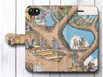 【北澤楽天 りすのやどや 1916】スマホケース手帳型 全機種対応 iPhone11 iPhoneXRの画像
