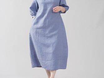 【wafu】やや薄地 リネン ワンピース スタンドカラー リネンドレス 半端袖 / 菫色(すみれいろ) a079b-smr1の画像