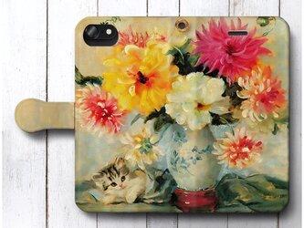 【Meta Pluckebaum 子猫と花瓶】スマホケース手帳型 全機種対応 iPhone11 Galaxyの画像