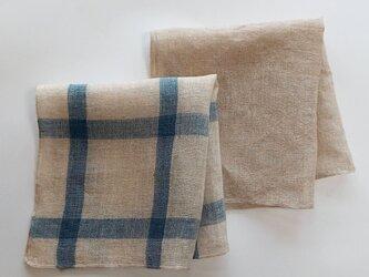 linen handkerchief #生成りの画像