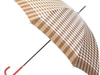 【雨傘】レトロチェック ギンガムチェック風 ベージュの画像