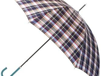 【雨傘】レトロチェック マドラスチェック風 ネイビーの画像