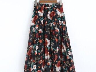 花柄 シフォン生地のスカート ロングプリーツスカート ギャザースカートの画像