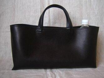 【受注生産】イタリア製牛革のしっかり横長トートバッグ(黒色・L)の画像