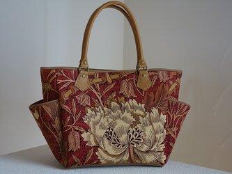 サイドポケットバッグS(英国輸入生地ウィリアムモリス:ハニーサックル&チューリップ赤茶色3)の画像