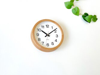 KATOMOKU muku clock 16 オーク km-108OARC 電波時計 掛け時計 連続秒針 小さいサイズの画像