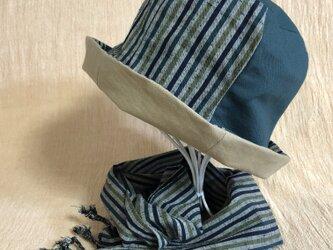 遠州綿紬のリバーシブルクロッシェ 草木×ベージュの画像