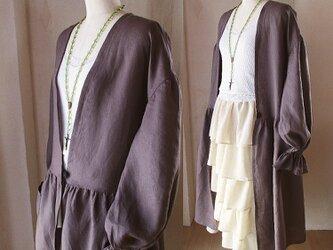 ★初夏BIGセール★リネン ゆったり羽織れる ローブワンピースコート 長袖 小豆色 パフスリーブの画像