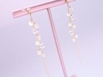 ピュアバブル/天然水晶のピアス Pure Bubbles Crystal pierced earrings P0086の画像