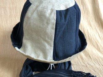 遠州綿紬のリバーシブルクロッシェ 海風×ベージュの画像