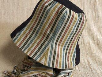 遠州綿紬のリバーシブルクロッシェ 黄葉×ベージュの画像