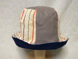 遠州綿紬のリバーシブルクロッシェ 稲穂×紺の画像