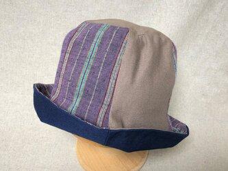 遠州綿紬のリバーシブルクロッシェ 桔梗×紺の画像