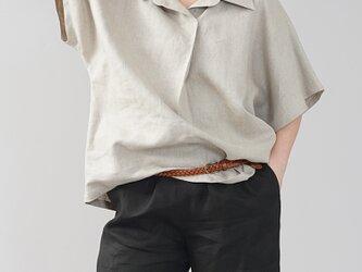 【wafu 入門編】中厚 リネン スキッパーシャツ 半袖 メンズライク オーバーサイズ/亜麻ナチュラル t020a-amn2の画像