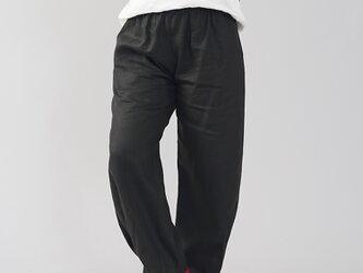 【wafu】中厚地 リネン ボールパンツ ボトムス サイドタック 裾タック リラックスパンツ/ブラック b013g-bck2の画像