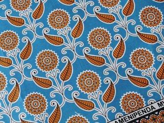 アフリカ布『カンガ』 コバルトブルー × オレンジの画像