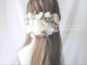 カーネーションとアジサイのヘッドドレス/ヘアアクセサリー(グリーンホワイト)*結婚式・成人式・ウェディングドレスにの画像
