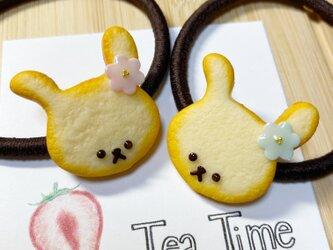 おめかしうさぎのクッキーヘアゴムの画像