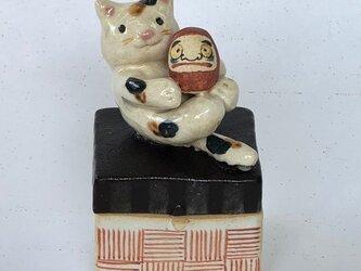 陶ハコ「近江だるまネコ」の画像