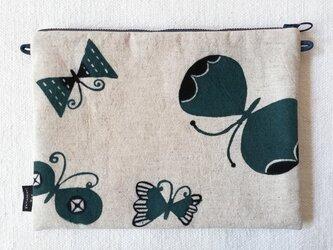 型染め サコッシュポーチL「蝶のさんぽ」の画像