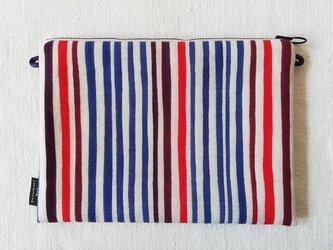 型染め サコッシュポーチM「縞縞」の画像