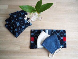 マスク2枚とマスクケースのセット--藍にブルーが爽やかな久留米絣ー プレゼントにもおすすめ!の画像