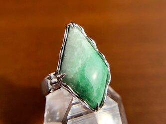 9号☆天然翡翠シルバーリング7.16ct☆ミャンマー産の原石から磨いた1点もの!の画像