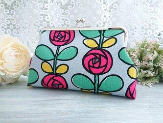 ◆【再販】ローズストライプなモダンがま口ポーチ*花柄バラ薔薇着物浴衣レトロモダン和柄の画像