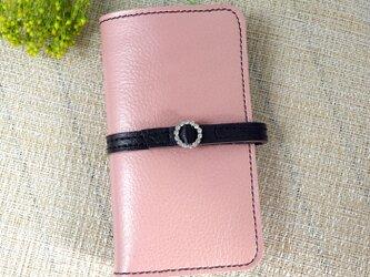 iphone8プラス/ X /11各機種 牛革 くすみピンク 手帳型スマホケース ラインストーンバックル ラウンドの画像