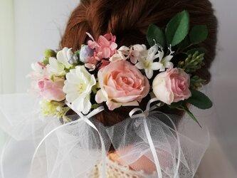 メアリーローズと野ばらのヘッドドレス☆*:シェルピンクmary rose and wild rose headdressの画像