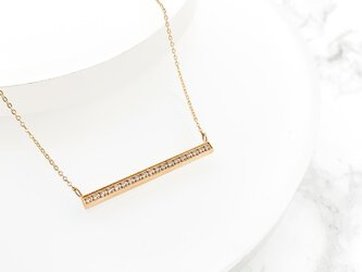 stanless cz bar necklace n303の画像