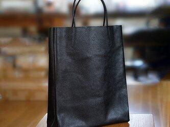 大人の革袋M・A4が入る・ポケット付き・ブラック[受注製作品]の画像