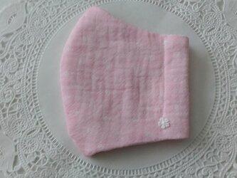 送料無料【受注制作】ピンクドットのトリプルガーゼ生地の立体マスクLサイズ☆裏地選べます☆サイズ変更可の画像