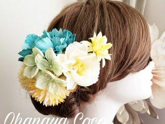 花funwari 小さなピオニーの髪飾り7点Set NNn739の画像
