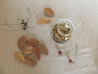 木の茶さじ 葉っぱ ① ティースプーンの画像