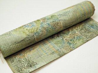 u0023 反物 絹ウール 縞文様着物地 高級着尺 未使用☆古布・古裂の画像
