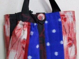 4821 銘仙の着物で作った手提げ袋 #送料無料の画像