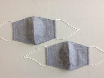 2枚セット 綿麻スペック先染とワッシャー加工綿ダブルガーゼのマスク大人用大きめ(男性用)ブルー系の画像