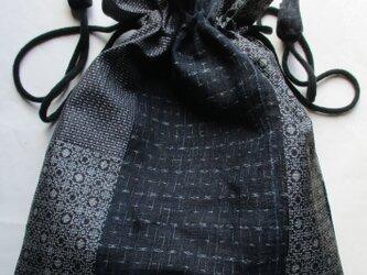 4823 麻と大島紬で作った巾着袋 #送料無料の画像