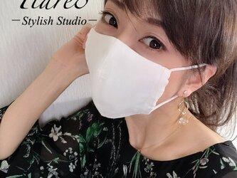 【やや小さめ】清潔感たっぷり◎涼しく敏感肌にも優しいダブルガーゼ 白のシンプル立体マスクの画像