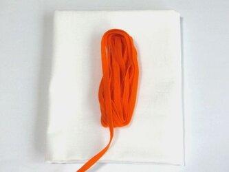 手作りマスク応援キット にんじん色 朱色 巾着袋の製作にも 晒生地とウーリースピンテープの画像